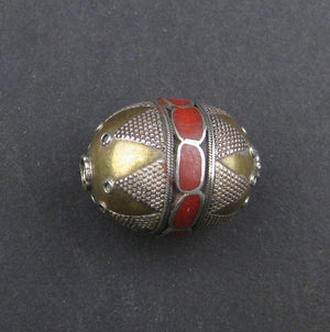 Inlaid Afghani Brass Bead Pendant (Oval, Red) - The Bead Chest