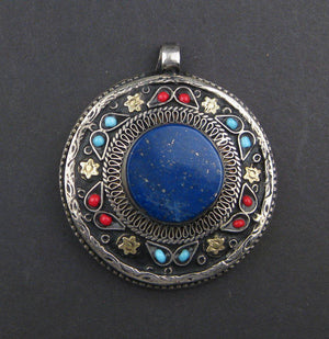 Premium Lapis Inlaid Afghani Silver Pendant (Round) - The Bead Chest