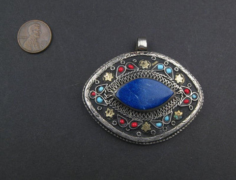 Premium Lapis Inlaid Afghani Silver Pendant (Eye Shape) - The Bead Chest