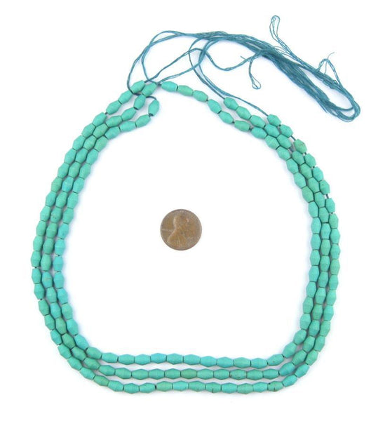 Turquoise Ceramic Afghani Bicone Beads
