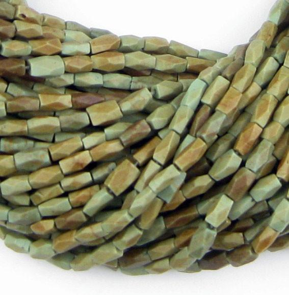 Faceted Green Turquoise Beads - The Bead Chest