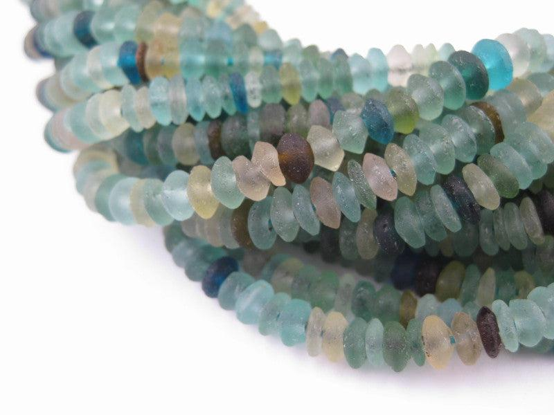 Roman Glass Saucer Heishi Beads (5mm) - The Bead Chest