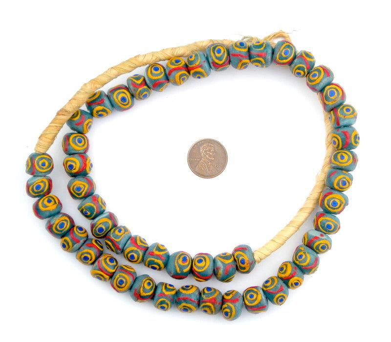 Turquoise Eye Krobo Beads - The Bead Chest