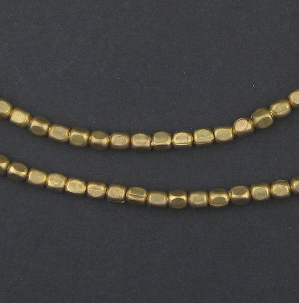 Rounded Brass Cube Beads (4x3mm)