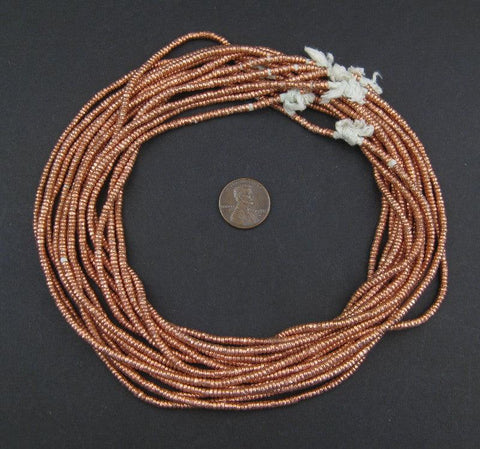 Copper Heishi Ethiopian Beads (3mm) - The Bead Chest