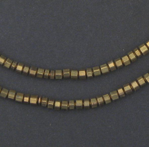 Faceted Brass Prism Beads (2x4mm) - The Bead Chest