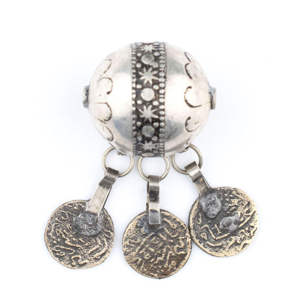 Moroccan Berber Silver Bead Pendant with Tassels - The Bead Chest