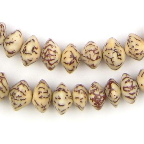 Brown & Beige Natural Saucer Seed Beads (8mm) - The Bead Chest