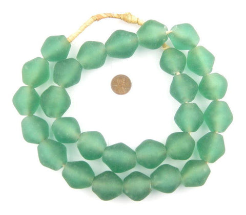 Aqua Recycled Glass Beads (25mm) - The Bead Chest
