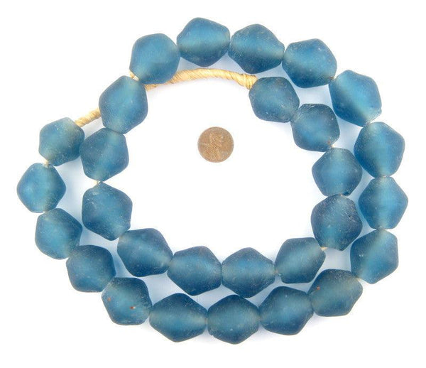 Light Blue Recycled Glass Beads (25mm)