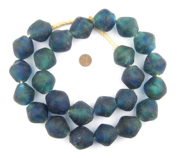 Aqua Swirl Recycled Glass Beads (34mm) - The Bead Chest