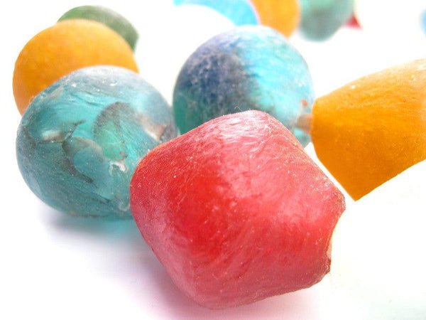 Premium Mixed Recycled Glass Beads (34mm)