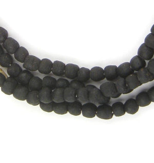 Opaque Black Recycled Glass Beads (7mm) - The Bead Chest