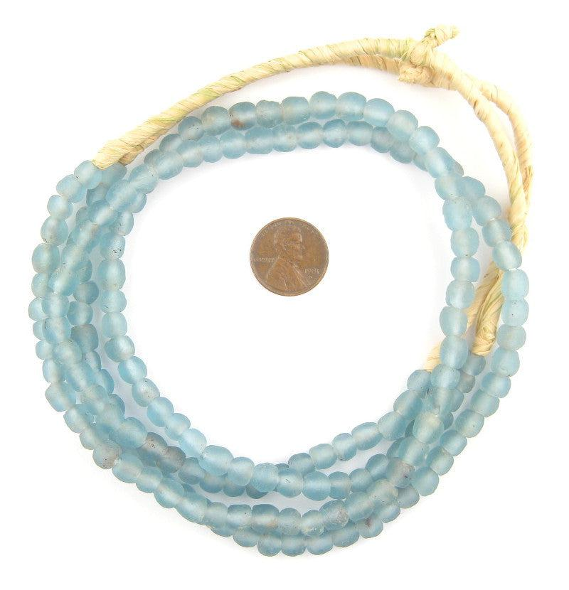 Light Blue Recycled Glass Beads (7mm) - The Bead Chest