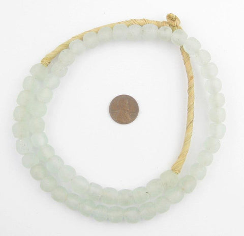 Image of Clear Aqua Recycled Glass Beads (11mm) - The Bead Chest