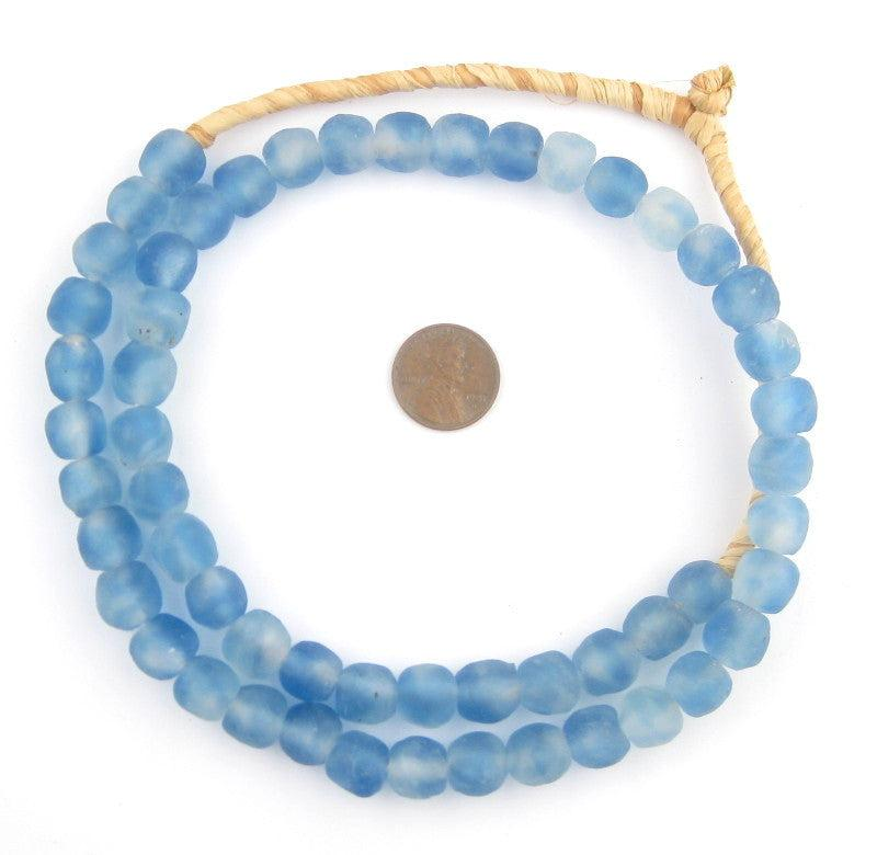 Blue Swirl Recycled Glass Beads (11mm) - The Bead Chest