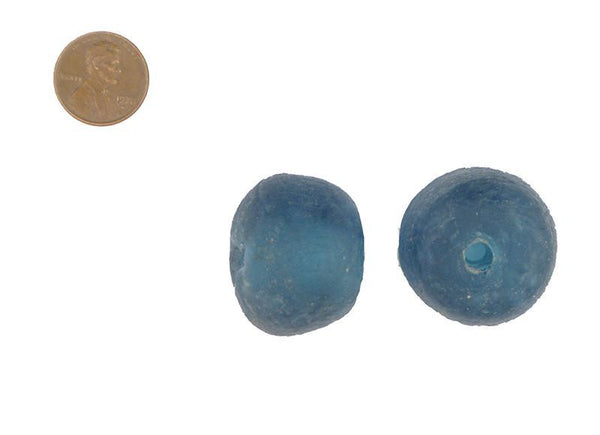 Blue Jumbo 31mm Recycled Glass Beads (Set of 2) - The Bead Chest