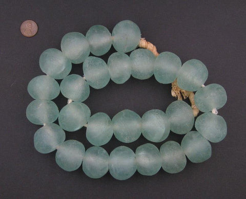 Super Jumbo Clear Aqua Recycled Glass Beads (35mm) - The Bead Chest