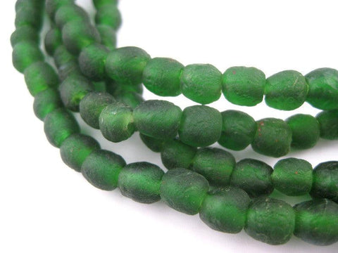 Dark Green Recycled Glass Beads (7mm) - The Bead Chest