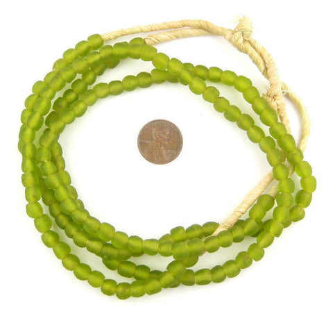 Lime Green Recycled Glass Beads (7mm) - The Bead Chest