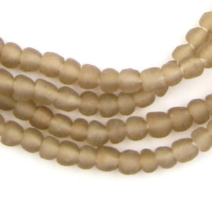 Groundhog Grey Recycled Glass Beads (7mm) - The Bead Chest