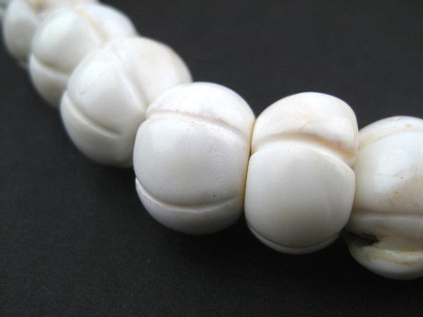 White Carved Shell Flower Beads