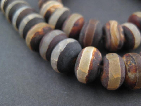 Striped Rondelle Tibetan Agate Beads (7x11mm)