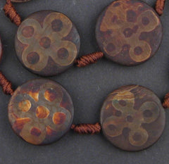 Round-shaped Tibetan Agate Medallion Beads (5x25mm)