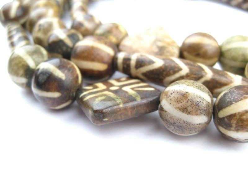 Vintage Style Mixed Fossilized Pumket Beads Long Strand 15mm Brown Stone