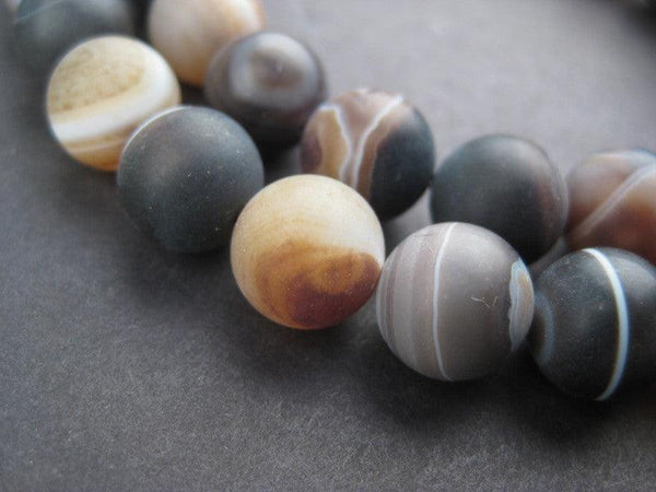 Round Natural Agate Stone Beads (10mm)