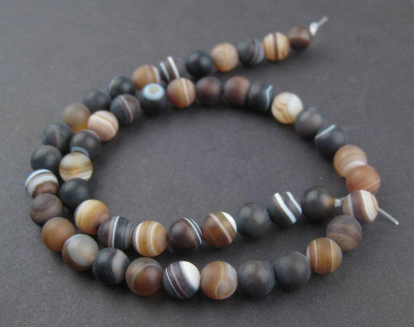 Round Natural Agate Stone Beads (8mm)