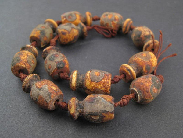 Amphora-shaped Tibetan Agate Beads (25x14mm) - The Bead Chest