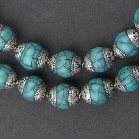 Vintage Style Nepali Turquoise Blue Beads - The Bead Chest
