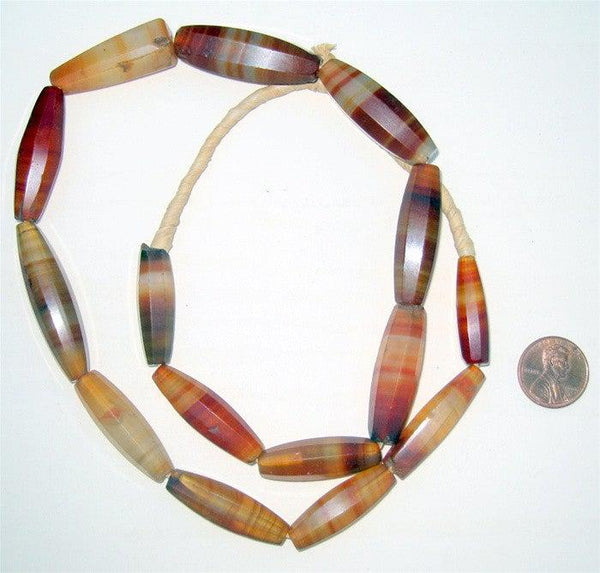 Elongated Agate Beads from Africa