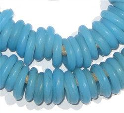 Light Blue Annular Wound Glass Beads - The Bead Chest