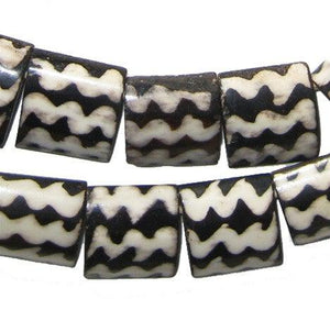 Zig-zag Batik Bone Beads (Flags) - The Bead Chest
