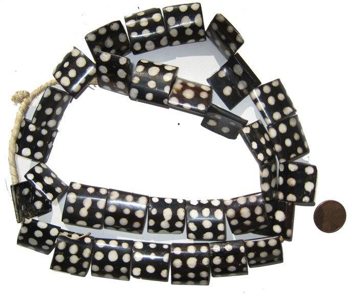 Polkadot Batik Bone Beads (Flags) - The Bead Chest