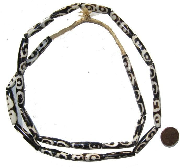 Eye Batik Bone Beads (Elongated) - The Bead Chest