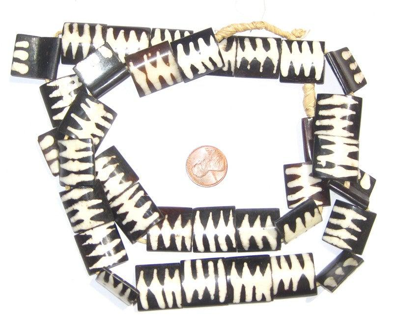 Inverted Zebra Design Batik Bone Beads (Flags) - The Bead Chest