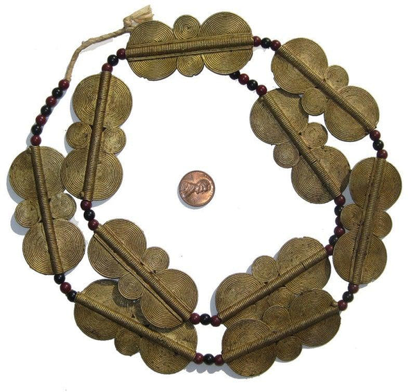 Double Sun Brass Baule Beads (65x34mm)