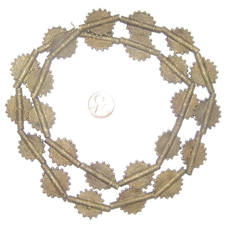 Brass Baule Beads, Sun Design (17mm) - The Bead Chest