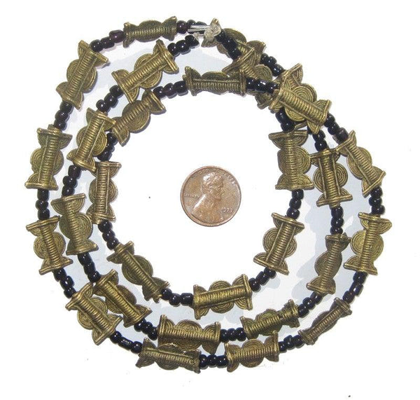 Brass Baule Beads, Sun Moon Design (17x10mm)