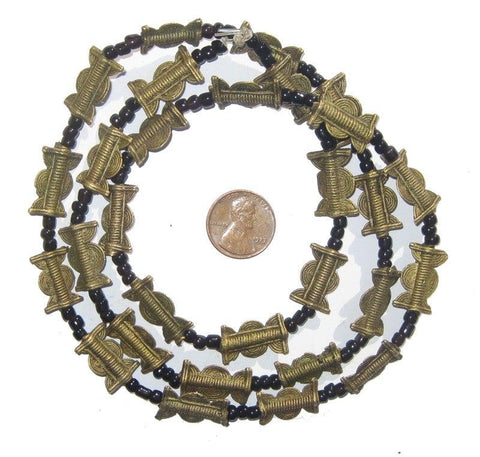 Image of Brass Baule Beads, Sun Moon Design (17x10mm) - The Bead Chest