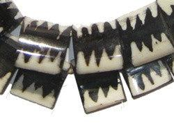 Zebra Design Batik Bone Beads (Flags) - The Bead Chest