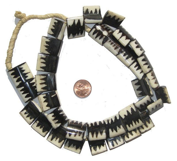 Zebra Design Batik Bone Beads (Flags)