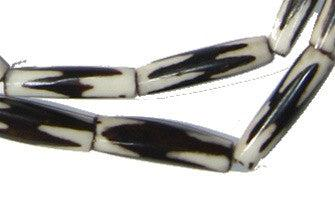 Inverted Zig-Zag Batik Bone Beads (Elongated) - The Bead Chest