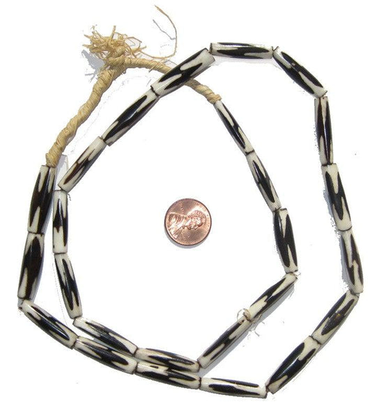Inverted Zig-Zag Batik Bone Beads (Elongated)