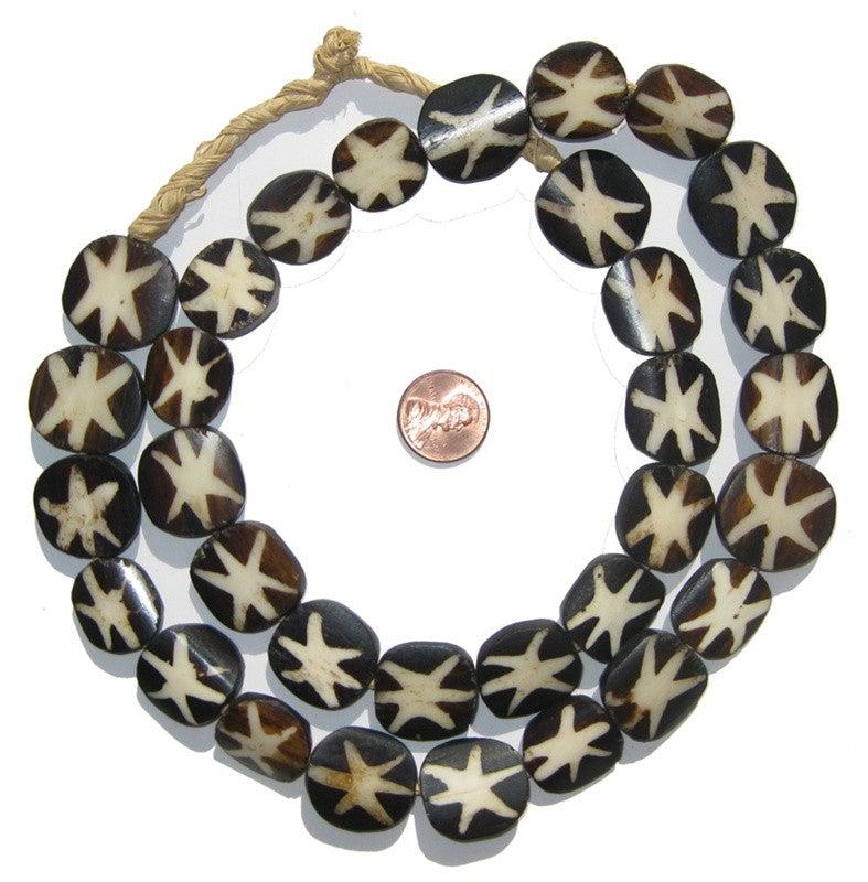 Starfish Design Batik Bone Beads (Circular) - The Bead Chest