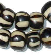 Zebra Design Batik Bone Beads (Large) - The Bead Chest
