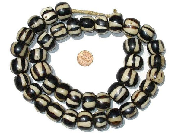 Zebra Design Batik Bone Beads (Large)